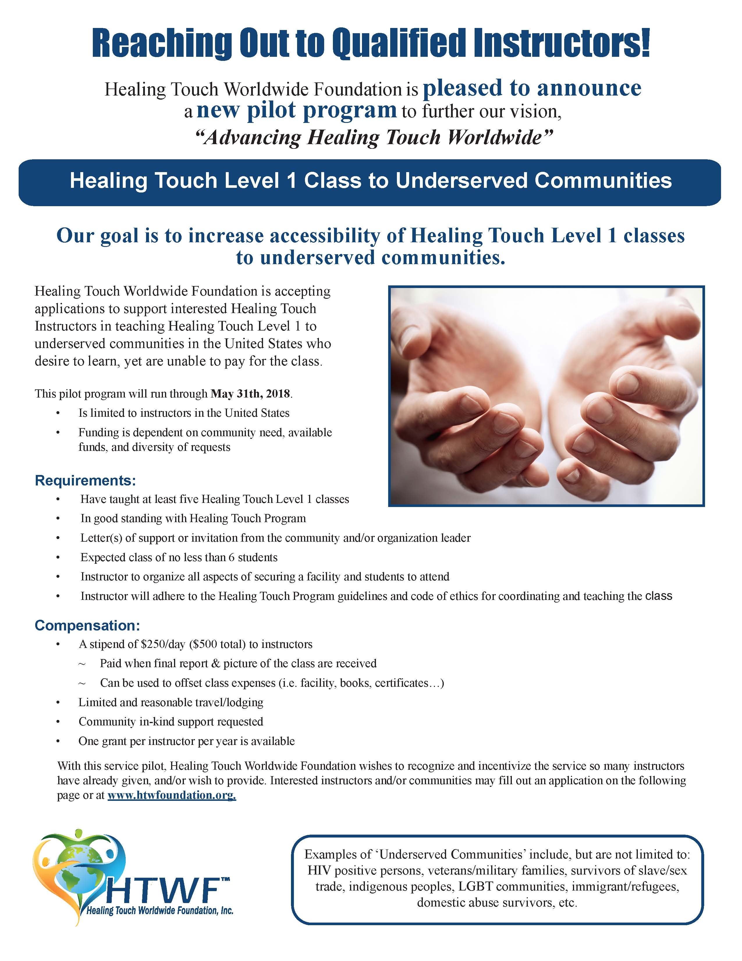 Healing Touch Worldwide Foundation, Inc. -- Underserved Pilot Guide